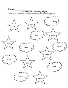 Controlling r: -ar -or Coloring Page