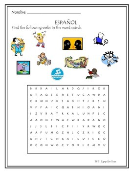 -ar verbs word search