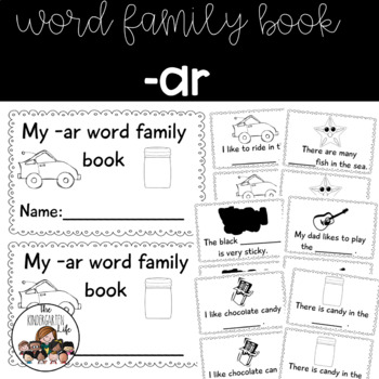 -ar word family minibook: cut and paste, word work
