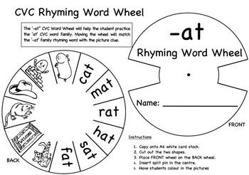 '-at' Rhyming Word Wheel