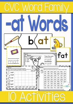 -at Word Family CVC Games/Centers and Worksheets US/UK Versions