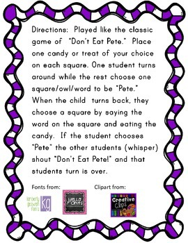 """-at Word Family """"Don't Eat Pete"""" FREEBIE"""