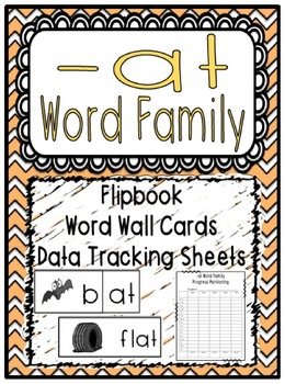 -at Word Family Flipbook, Word Wall Cards and Data Tracking Sheets!