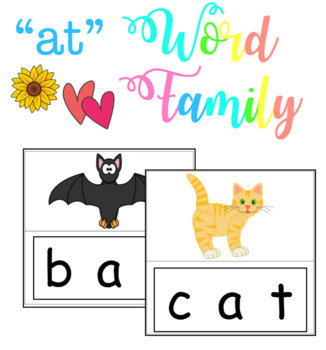 -at Word Family - Match & Velcro (Literacy Center Activity)