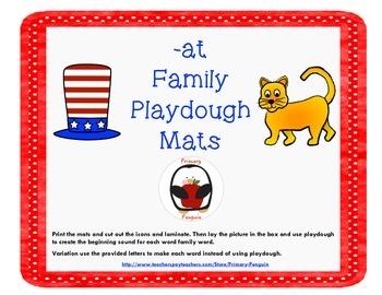 -at Word Family Playdough Mats