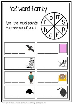 'at' Word Family Printable CCSS.ELA-Literacy.L.3.2