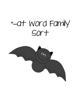 """-at Word Family Sort (Bat Themed)"