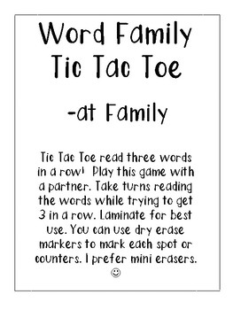 -at Word Family Tic Tac Toe