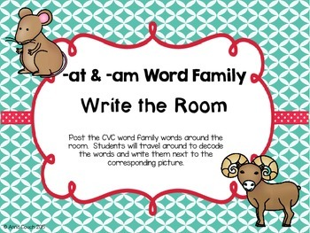 -at & -am Word Family Write the Room