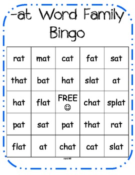 -at & -an Word Family BINGO!