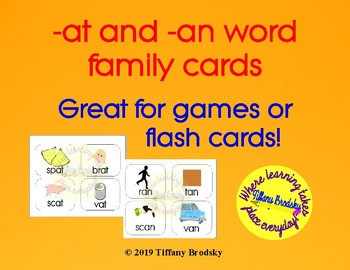 -at and -an Word Family Cards for Vocabulary and Games