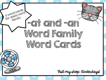 -at and -an Word Family Word Cards