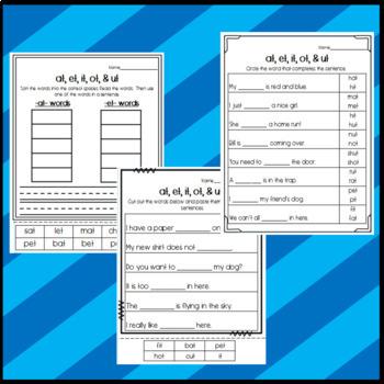 -at, -et, -it, -ot, -ut Worksheets: Cut and Paste Sorts, Cloze, Read & Draw, etc