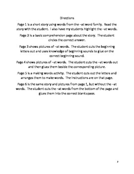 -at word family activities Created by Autism Support teacher