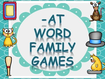 Word Family Games (-at), includes dice, game board, race board, and memory