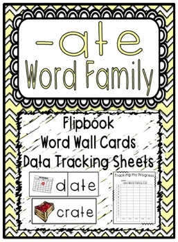 -ate Word Family Flipbook, Word Wall Cards and Data Tracking Sheets!