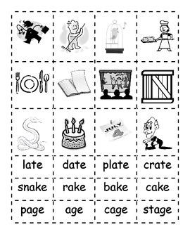 -ate -ake -age Word Families