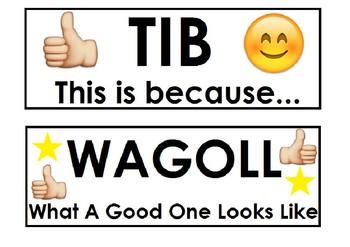 Learning intentions - WALT, WILT, WALA, TIB and WAGOLL (Freebie)