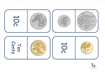 #ausbts18 Australian Money - Coin and Note Recognition Dominoes