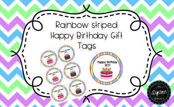 Rainbow Striped Happy Birthday Gift Tags