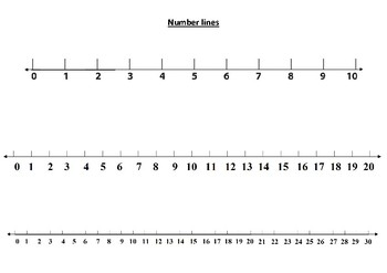 Number Lines (0-10, 0-20 and 0-30) Freebie