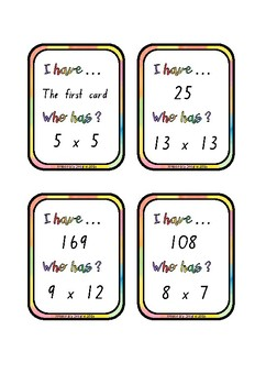 I Have, Who Has? Multiplication 0-13x