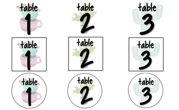 #ausbts18 Table Numbers Succulent Theme