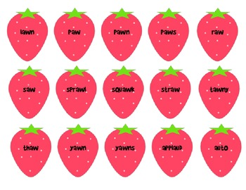 -aw and -au Word Sort: Strawberry Patch Match