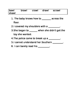 -awn and -awl word family worksheets