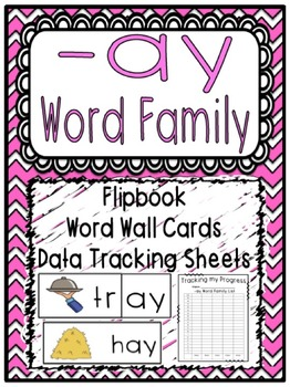 -ay Word Family Flipbook, Word Wall Cards and Data Tracking Sheets!