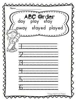 -ay Word Family Spelling and Word Work Printables-2 Freebies in Preview