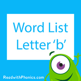 'b' CVC Phonics Word List | Phonics Resource