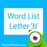 'b' CVC Phonics Word List | Phonics Resource