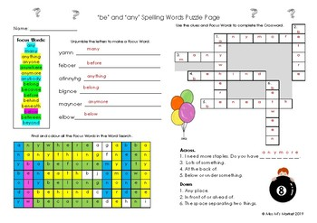 'be' & 'any' Spelling Puzzle Page