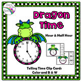 Time To The Half Hour Dragon Telling Time Clip Cards
