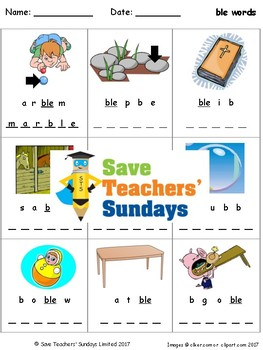 -ble words lesson plan, worksheets and other teaching resources