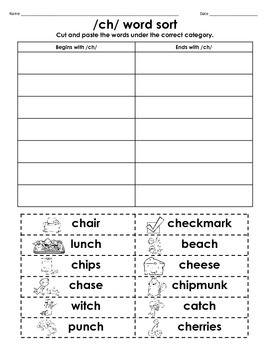 /ch/ Digraph Cut & Paste Word Sort FREEBIE