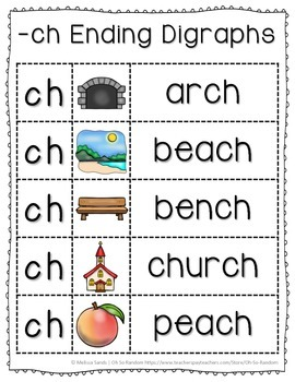 -ch Final Digraph Anchor Chart & Practice {Click File, Print}