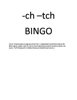 -ch and -tch phonics BINGO