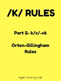 Orton-Gillingham Spelling Rule Activity Packet: /K/ Rules Part 2