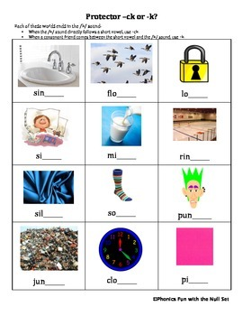 -ck or -k Spelling Activity