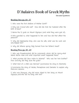 """""""d'Aulaires Book of Greek Myths""""- Discussion Questions & Quiz"""