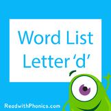 'd' CVC Phonics Word List | Phonics Resource