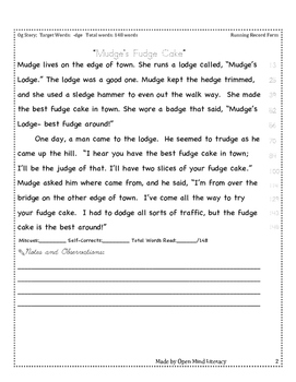 -dge Decodeable Story/Fluency Practice + Running Record Form
