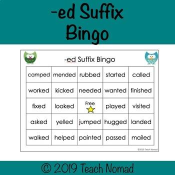 -ed Suffix Bingo