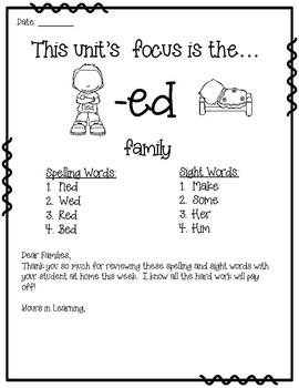 -ed WORD FAMILY PHONICS AND SIGHT WORD WORK EARLY LITERACY DECODING