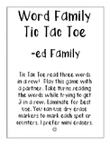 -ed Word Family Tic Tac Toe