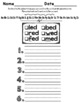 -ed Word Family Worksheets