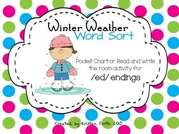 -ed endings Winter Weather Word Sort FREEBIE