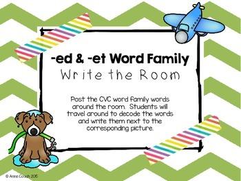 -ed & -et Word Family Write the Room